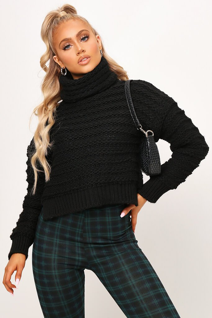 Black Chunky Knit Funnel Neck Jumper