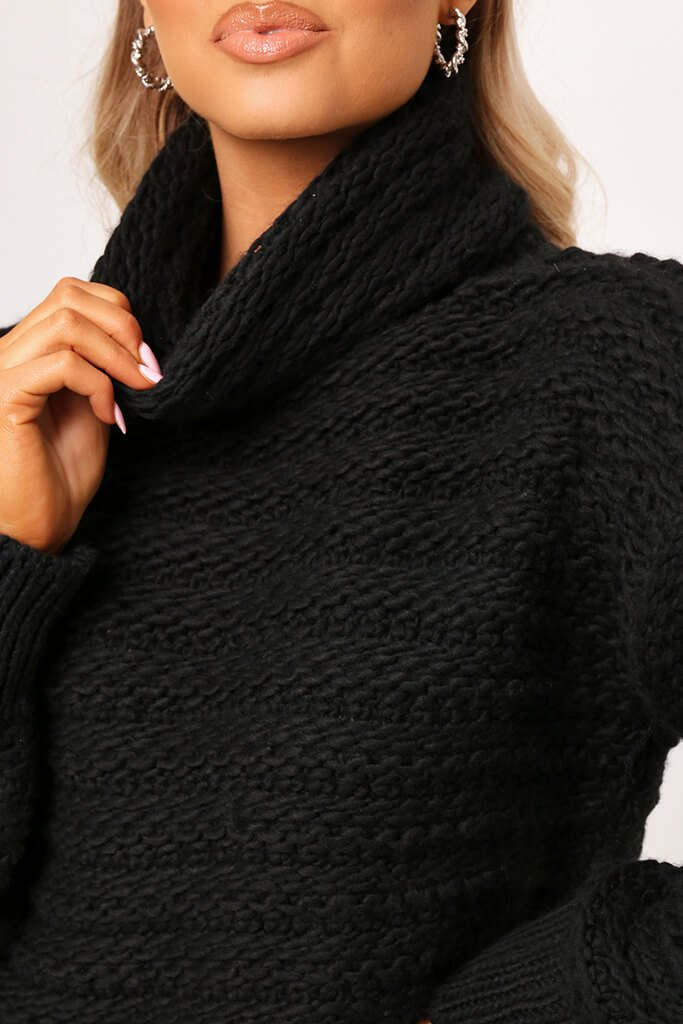 Black Chunky Knit Funnel Neck Jumper view 4