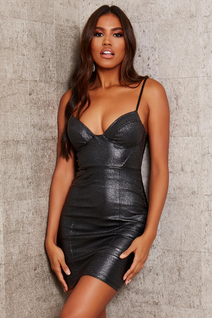 Black Glitter Strappy Mini Dress