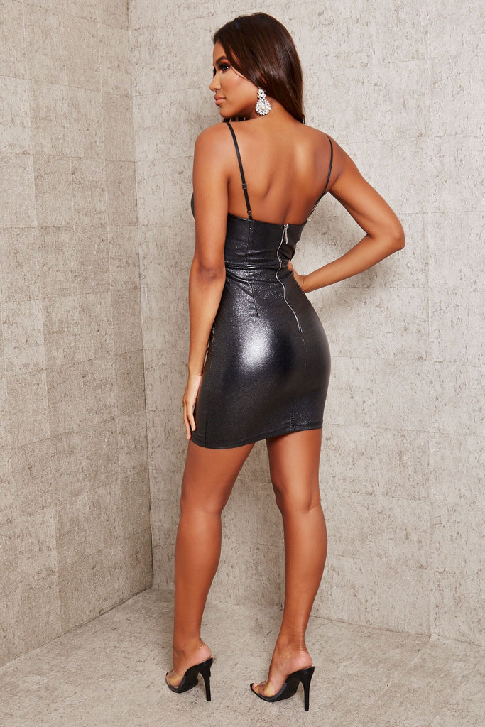 Black Glitter Strappy Mini Dress view 5