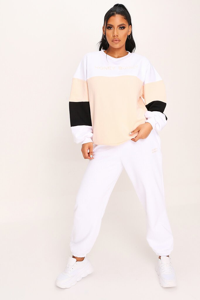 Cream Colour Block Honey Bunny Sweatshirt view 2