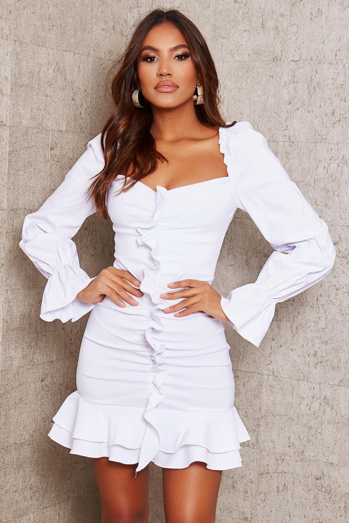White Bengaline Ruffle Sweetheart Neckline Bodycon Dress