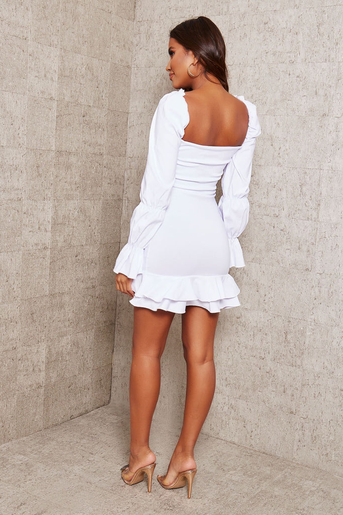 White Bengaline Ruffle Sweetheart Neckline Bodycon Dress view 4
