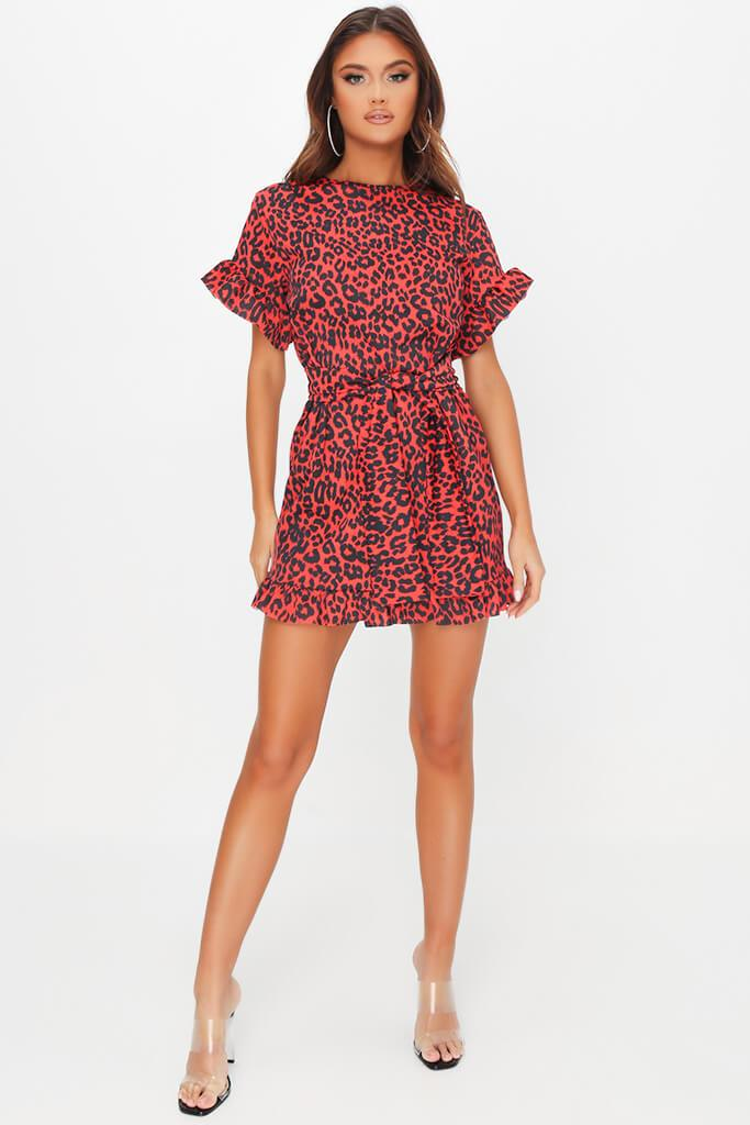 Red Leopard Print Tie Waist Frill Detail Dress view 2