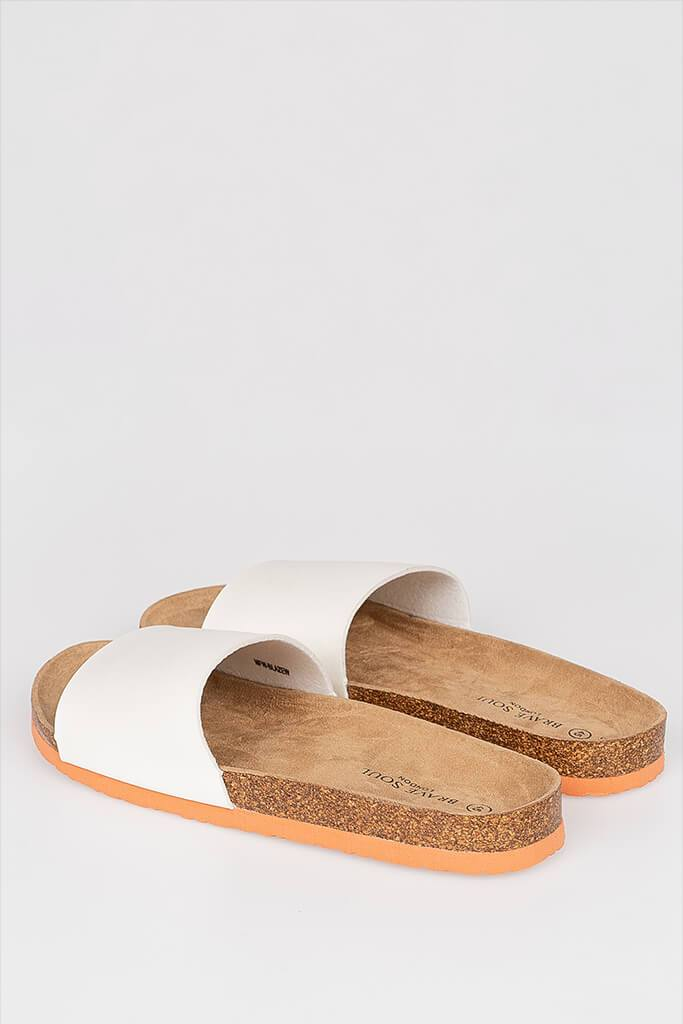 Men's Cork Sandal With Faux Leather Strap And Coral Sole view 2
