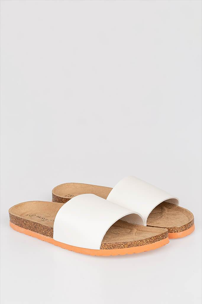 Men's Cork Sandal With Faux Leather Strap And Coral Sole