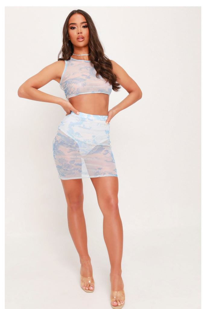 Baby Blue Mesh Sleeveless Crop Top view 3
