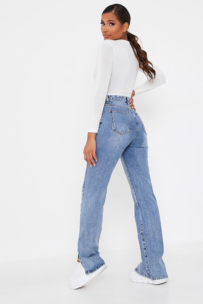 Mid Wash High Waisted Split Hem Jeans view 5