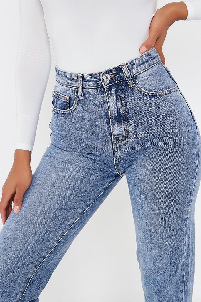 Mid Wash High Waisted Split Hem Jeans view 4