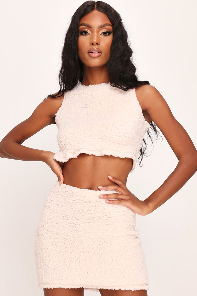 White Borg Sleeveless Crop Top view 3
