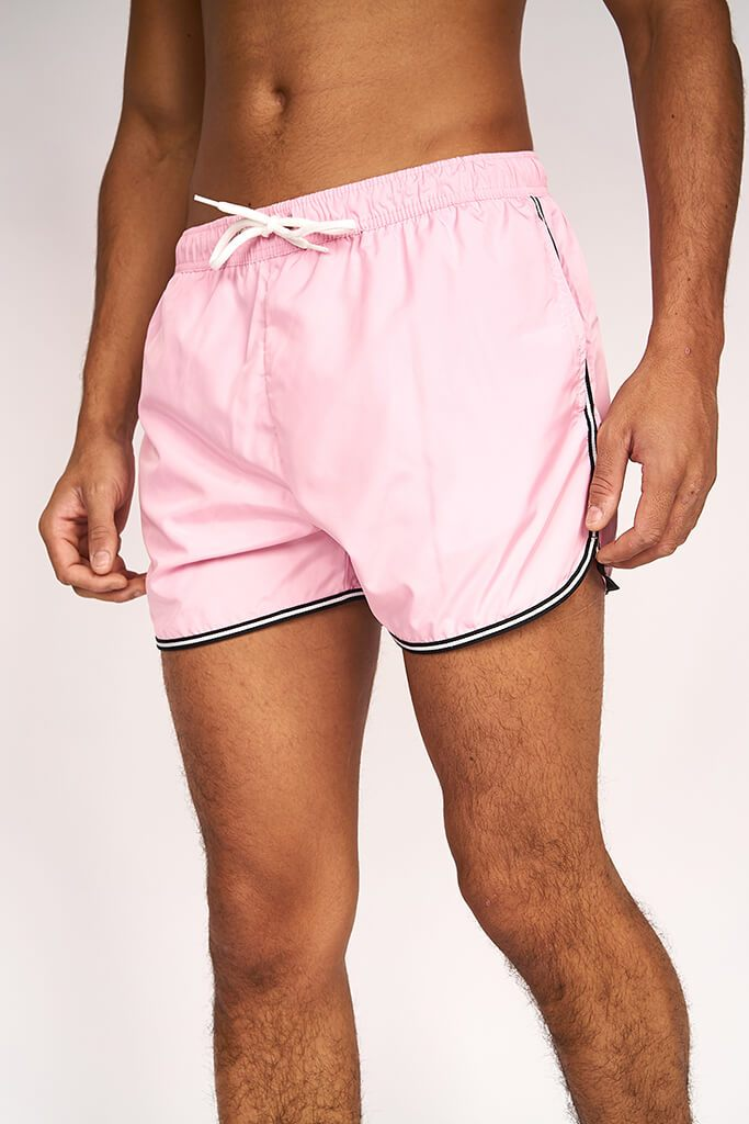 Pastel Pink Mens Runner Style Swimshort Elasticated Waistband view 3