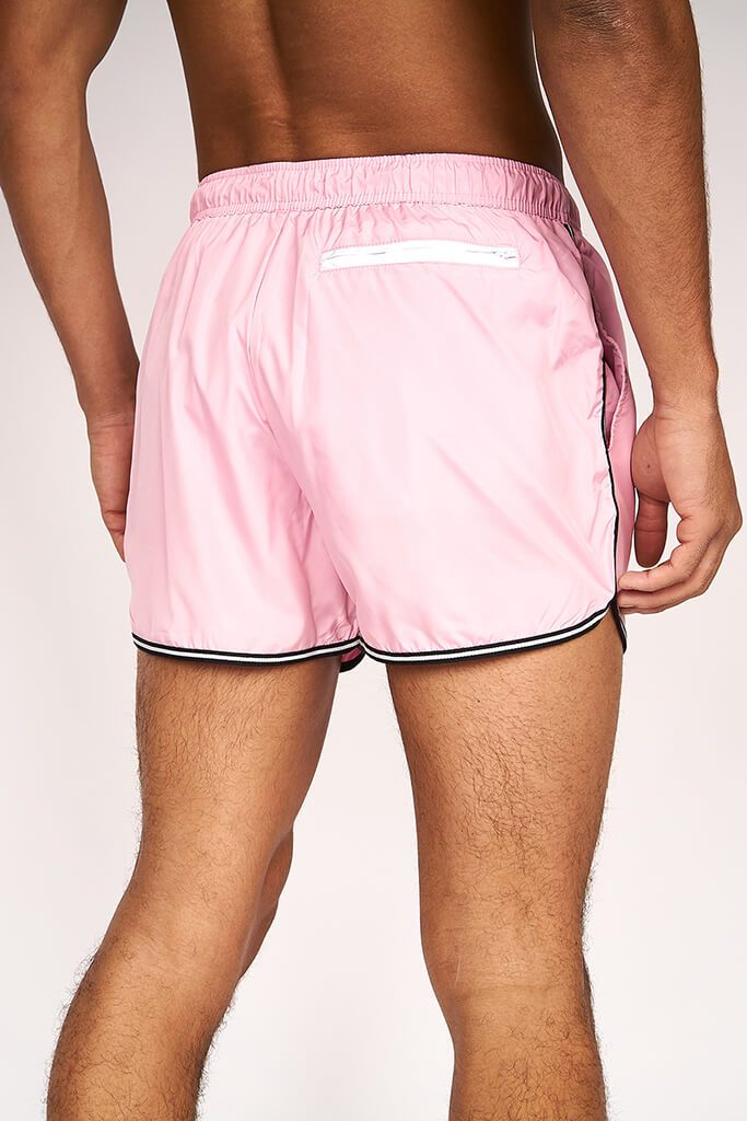 Pastel Pink Mens Runner Style Swimshort Elasticated Waistband view 4