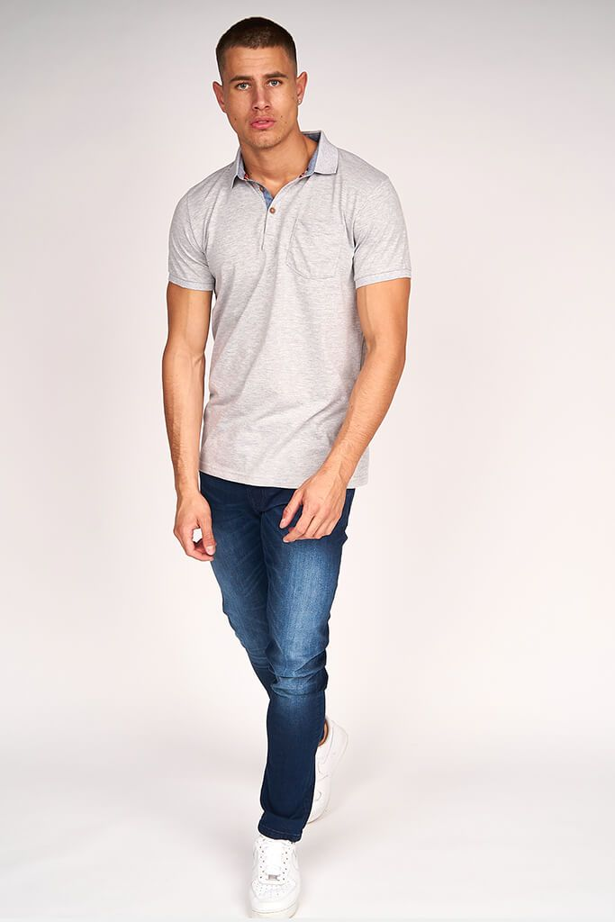 Grey Marl Mens Short Sleeve T-Shirt view 3