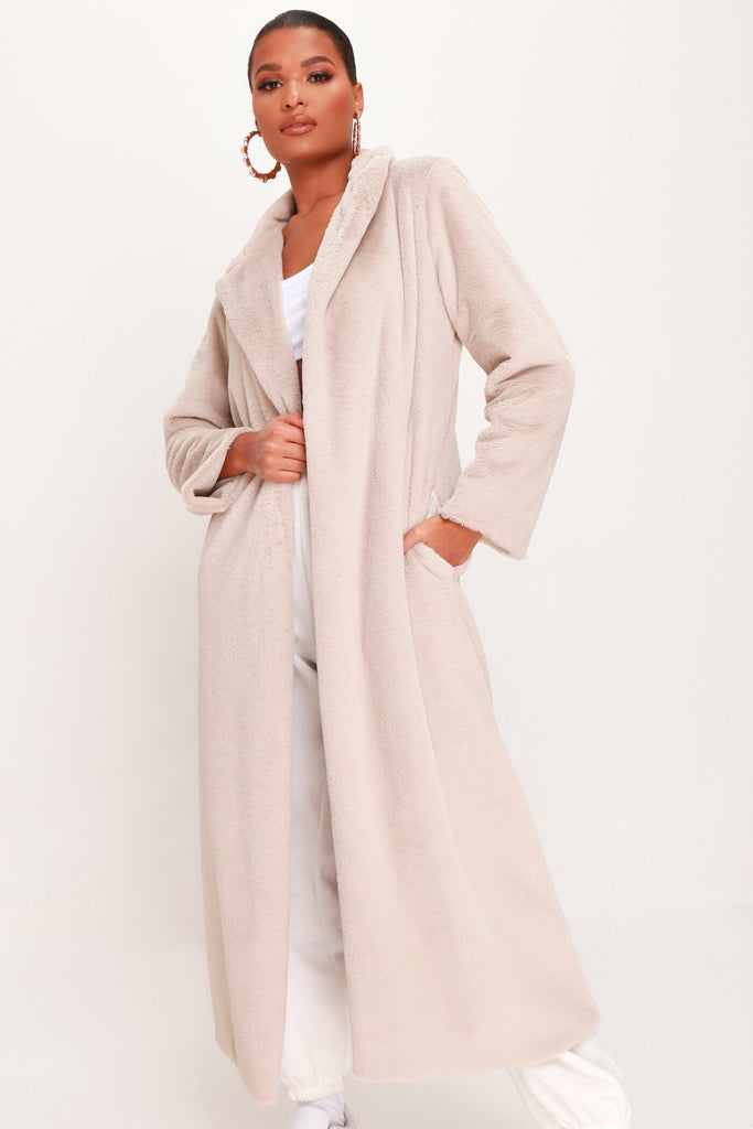 Stone Long Faux Fur Coat