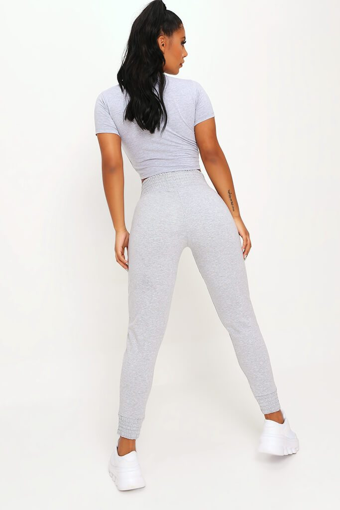 Grey Shirred Waist And Cuff Joggers view 5