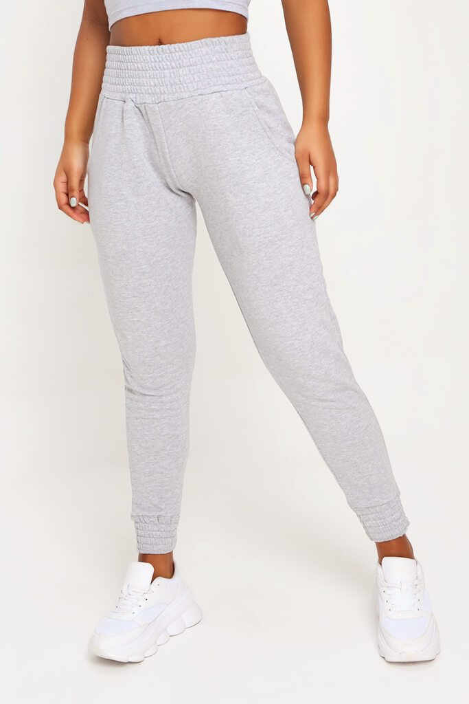 Grey Shirred Waist And Cuff Joggers view 2