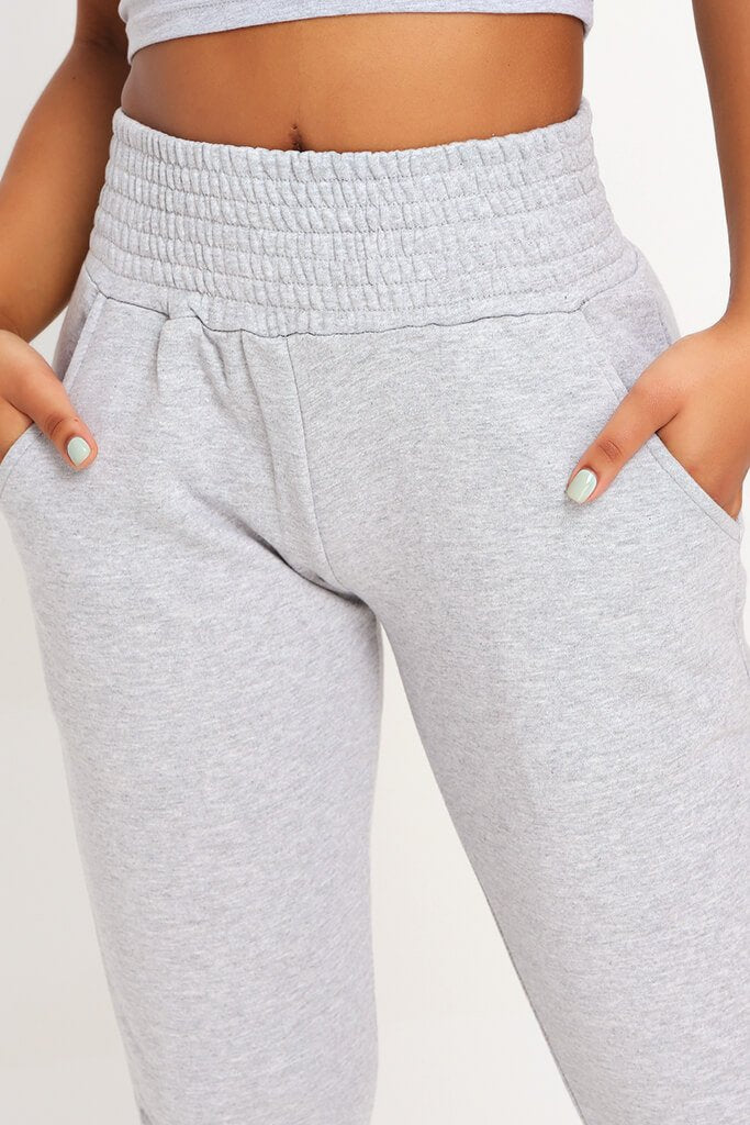 Grey Shirred Waist And Cuff Joggers view 4