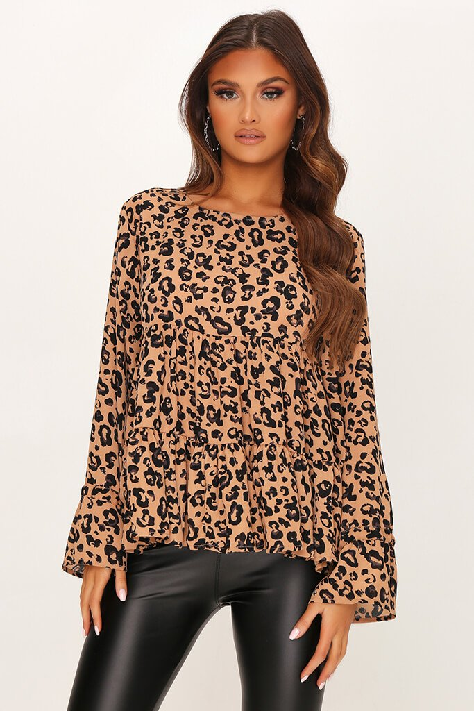 Brown Woven Leopard Print Long Sleeve Smock Blouse