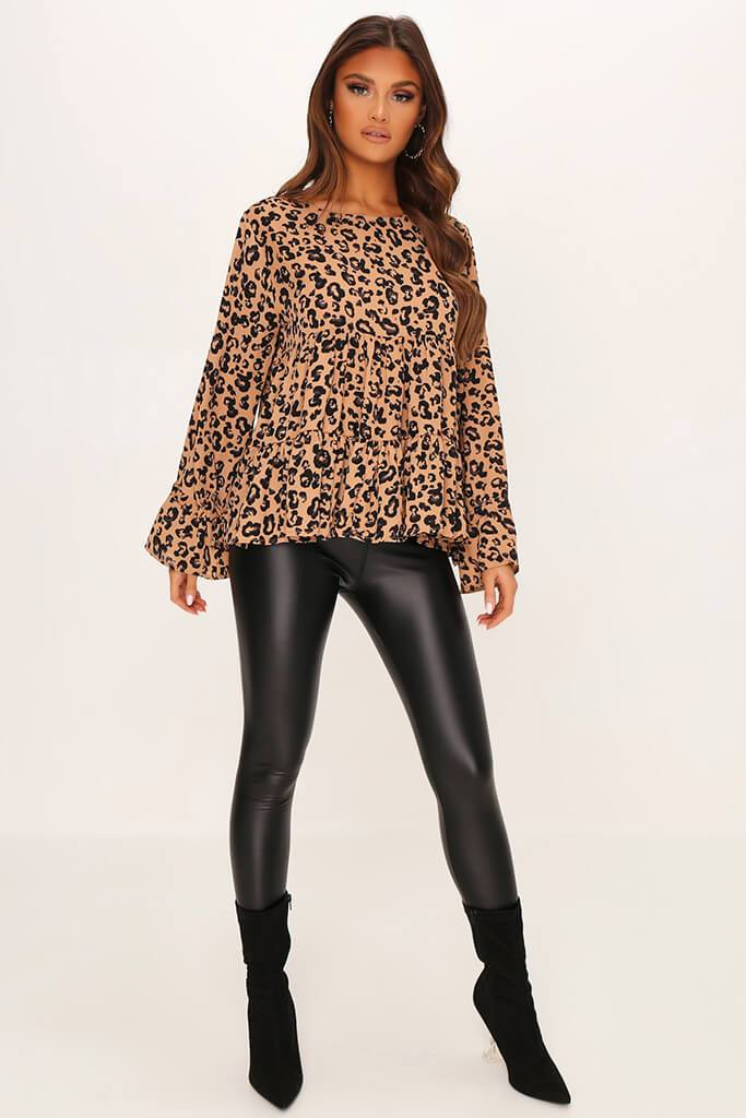 Brown Woven Leopard Print Long Sleeve Smock Blouse view 2