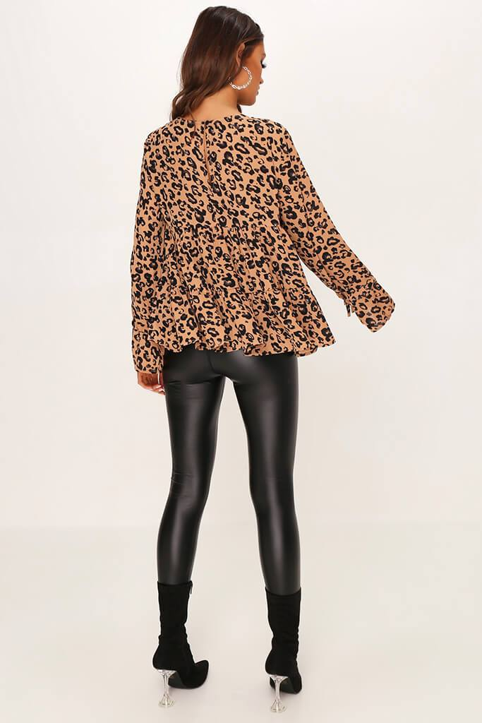 Brown Woven Leopard Print Long Sleeve Smock Blouse view 5