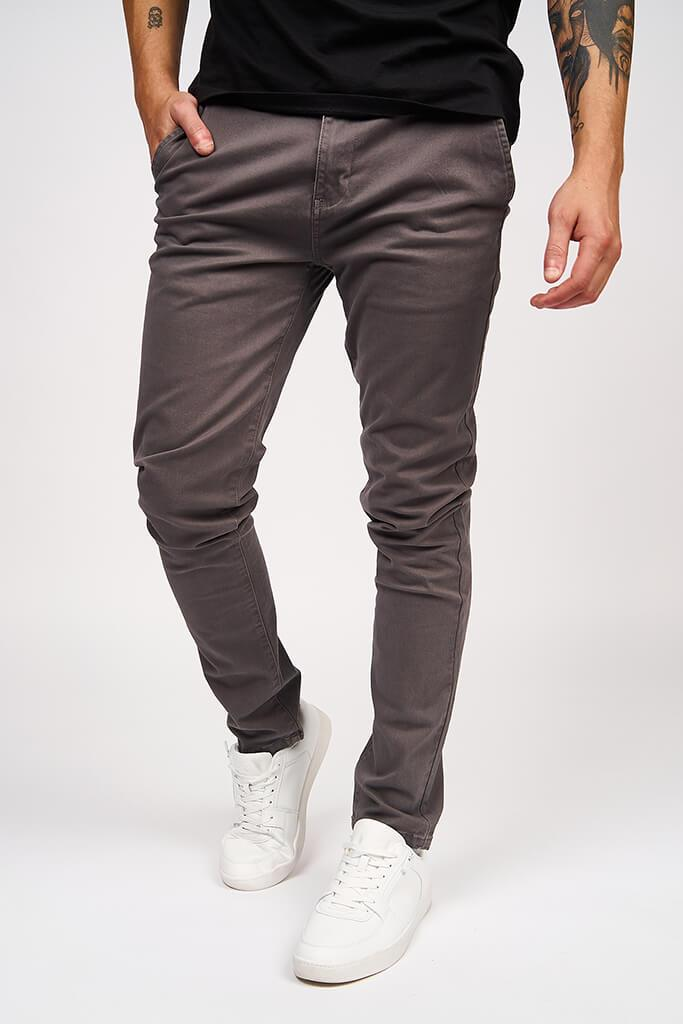 Multi Mens Kelso Charcoal Chino Stretch view 4