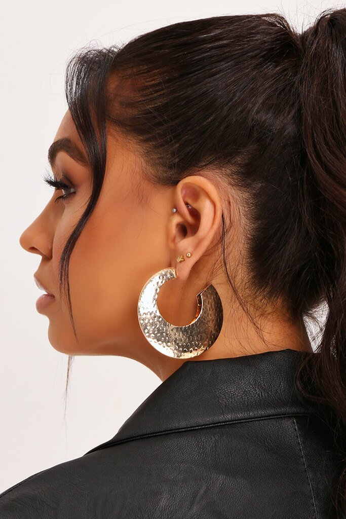 Gold Embossed Chunky Earrings