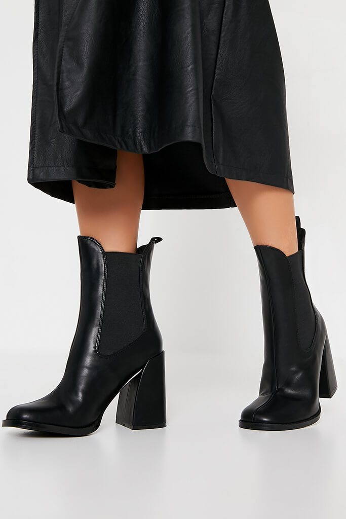 Black Flared Heel Western Chelsea Boot view 2