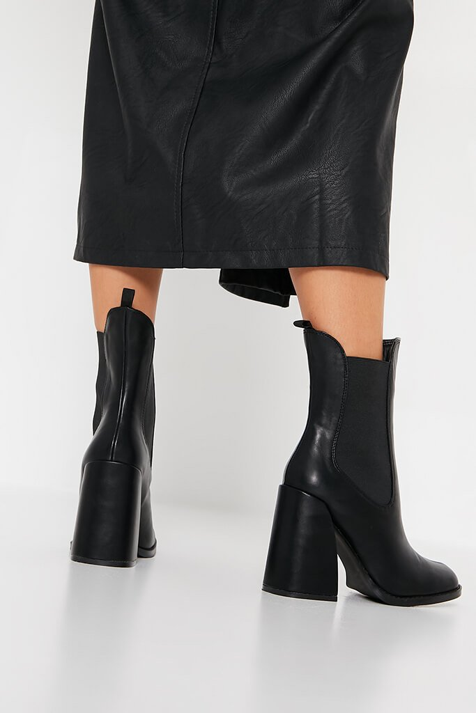 Black Flared Heel Western Chelsea Boot view 3