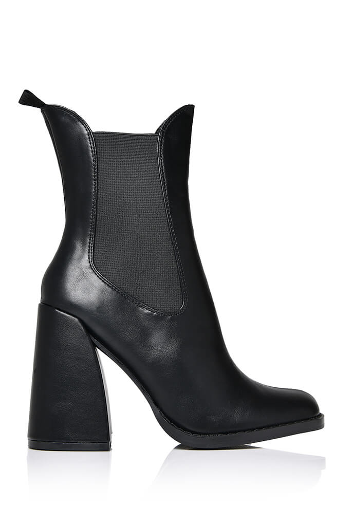 Black Flared Heel Western Chelsea Boot view 4