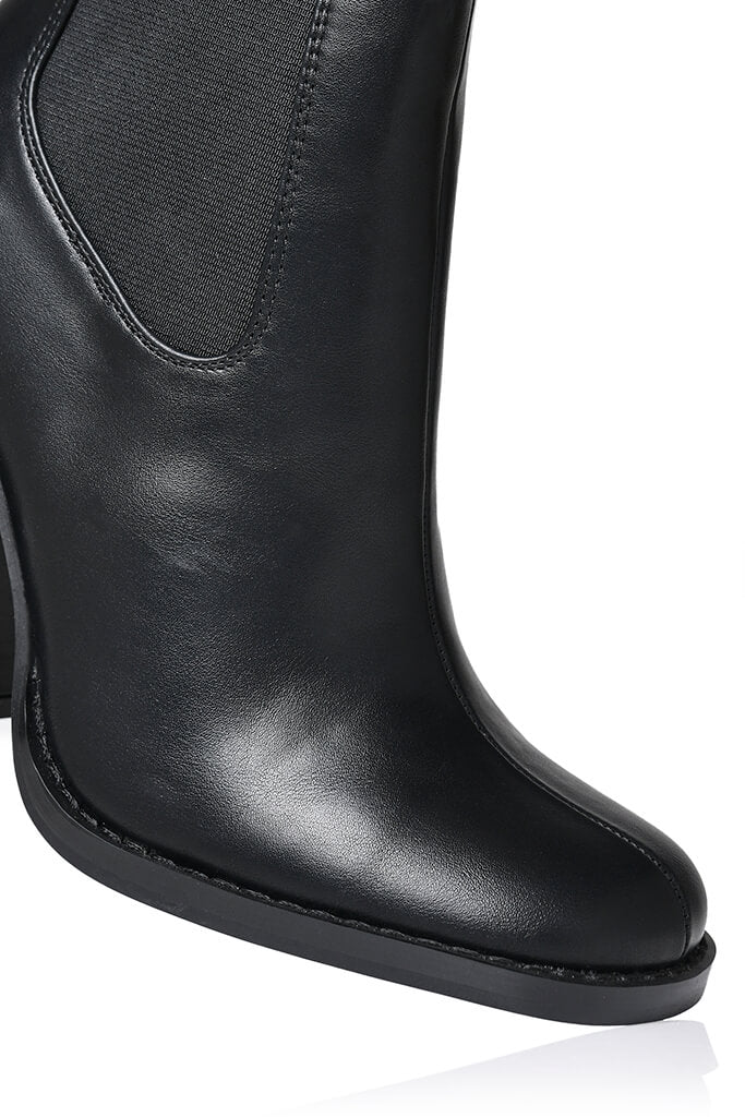 Black Flared Heel Western Chelsea Boot view 5