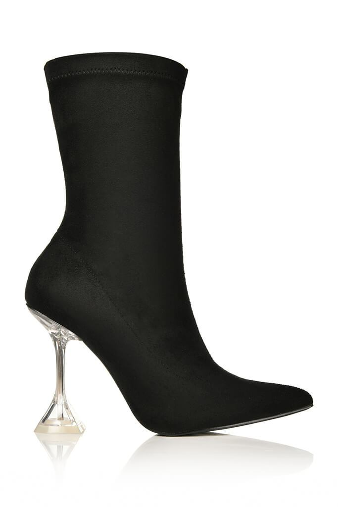 Black Lycra Diamond Heel Ankle Boots view 4
