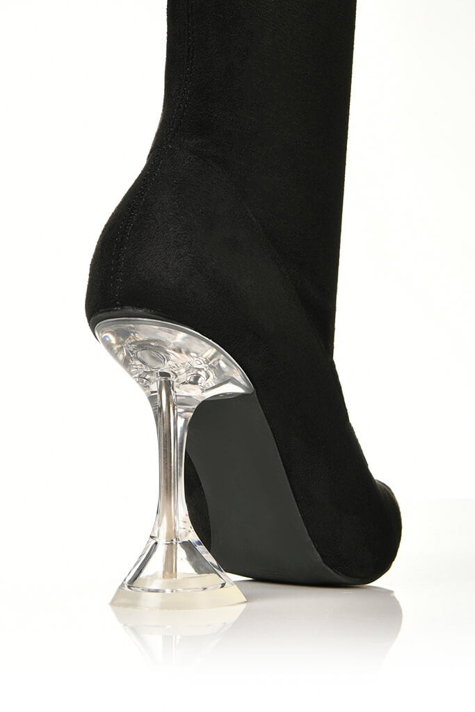 Black Lycra Diamond Heel Ankle Boots view 5