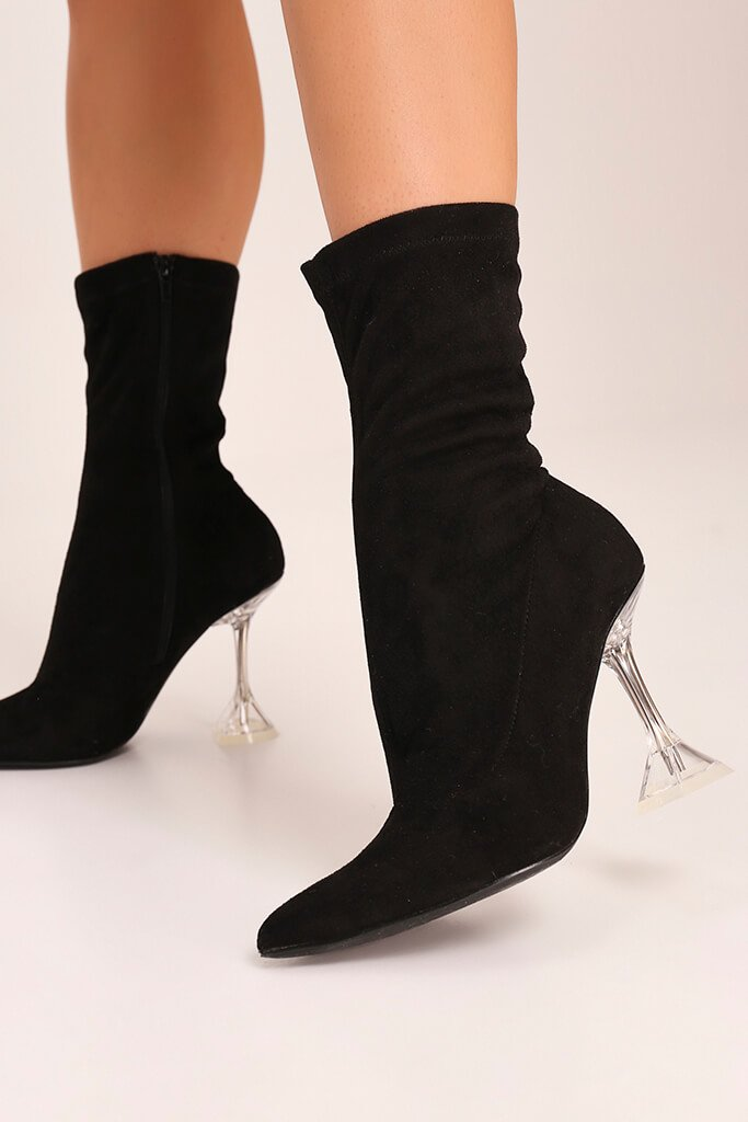 Black Lycra Diamond Heel Ankle Boots view 2