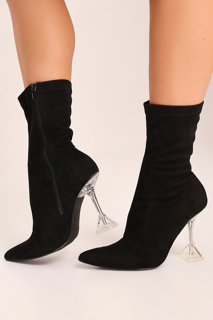 Black Lycra Diamond Heel Ankle Boots
