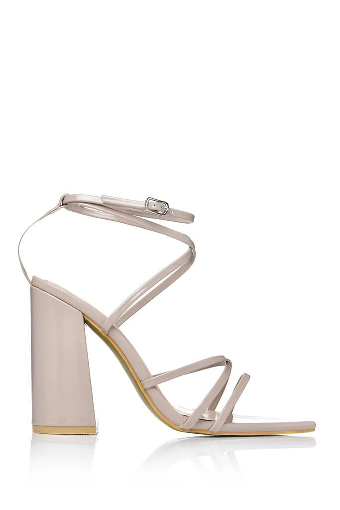 Neutral Strappy Pointed Toe Block Heel