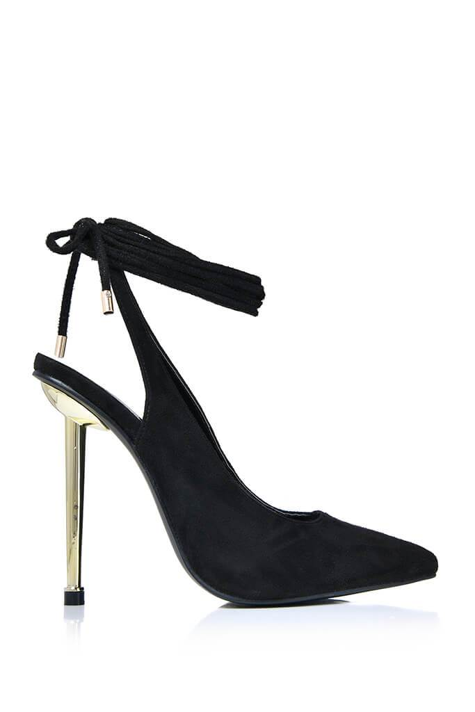 Black Strappy Sling Back Pointed Metal Heel view 3