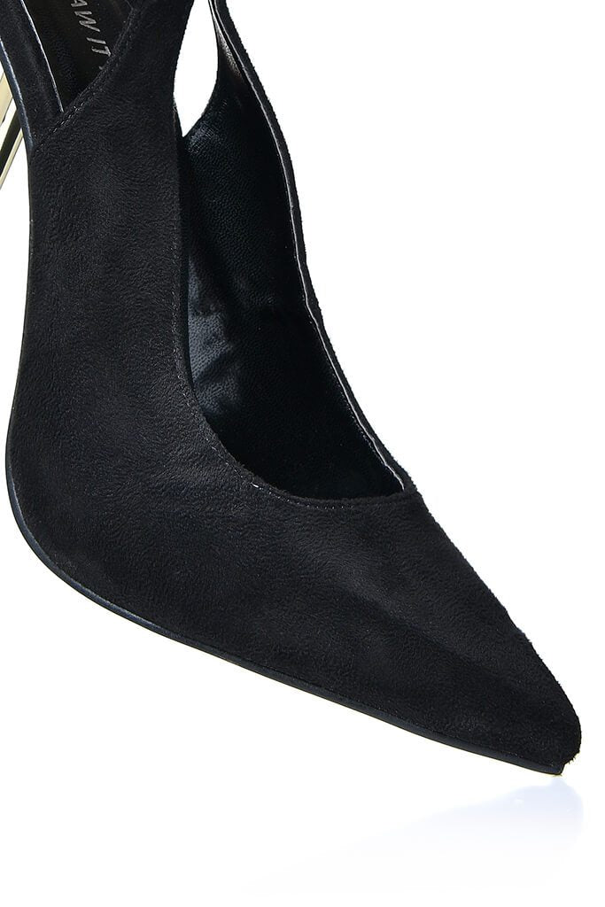Black Strappy Sling Back Pointed Metal Heel view 4