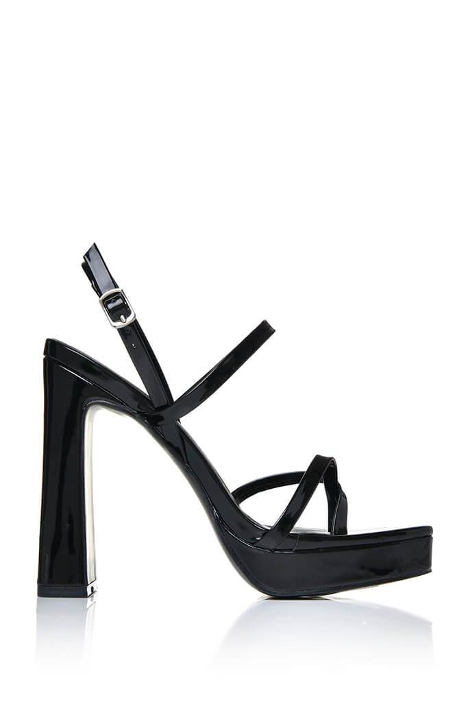 Black Strappy Chunky Square Toe Heel