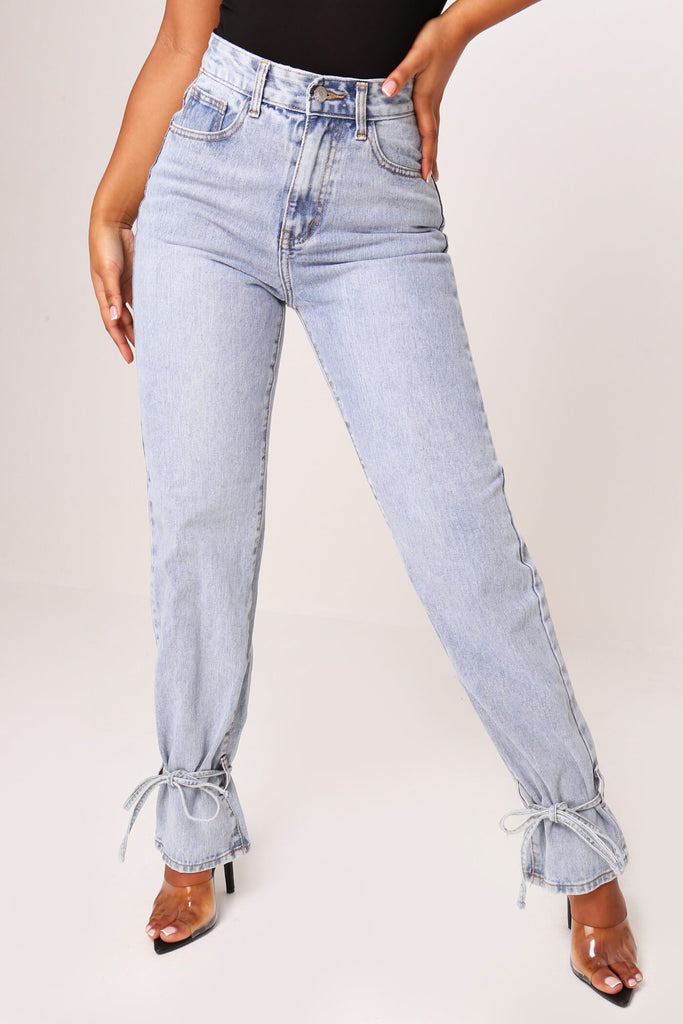 Mid Wash Tie Ankle Denim Jeans view 2