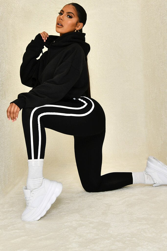Black Jersey Side Stripe Legging view 2