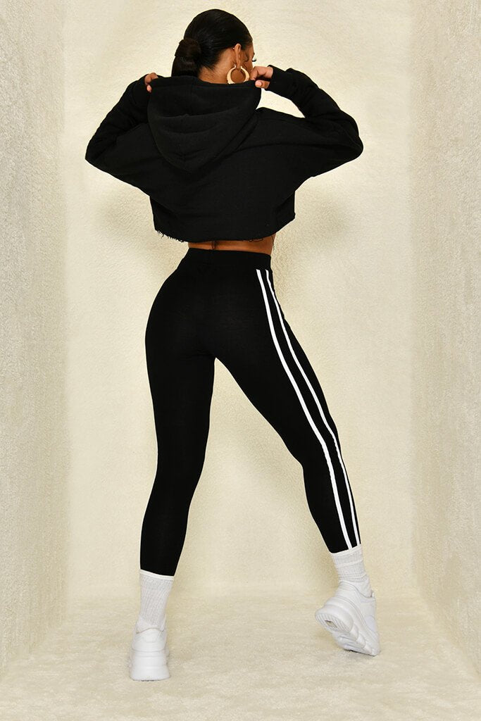 Black Jersey Side Stripe Legging view 5