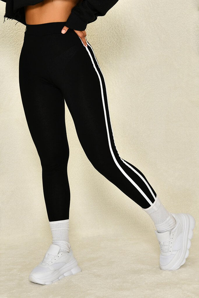 Black Jersey Side Stripe Legging view 3