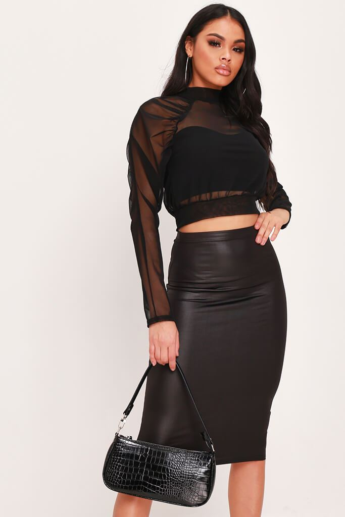 Black Mesh Ruched Shoulder High Neck Blouse