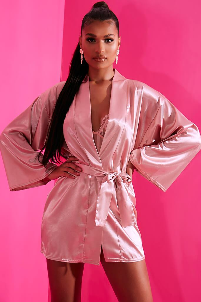 Blush Pink Satin Robe Dressing Gown I Saw It First
