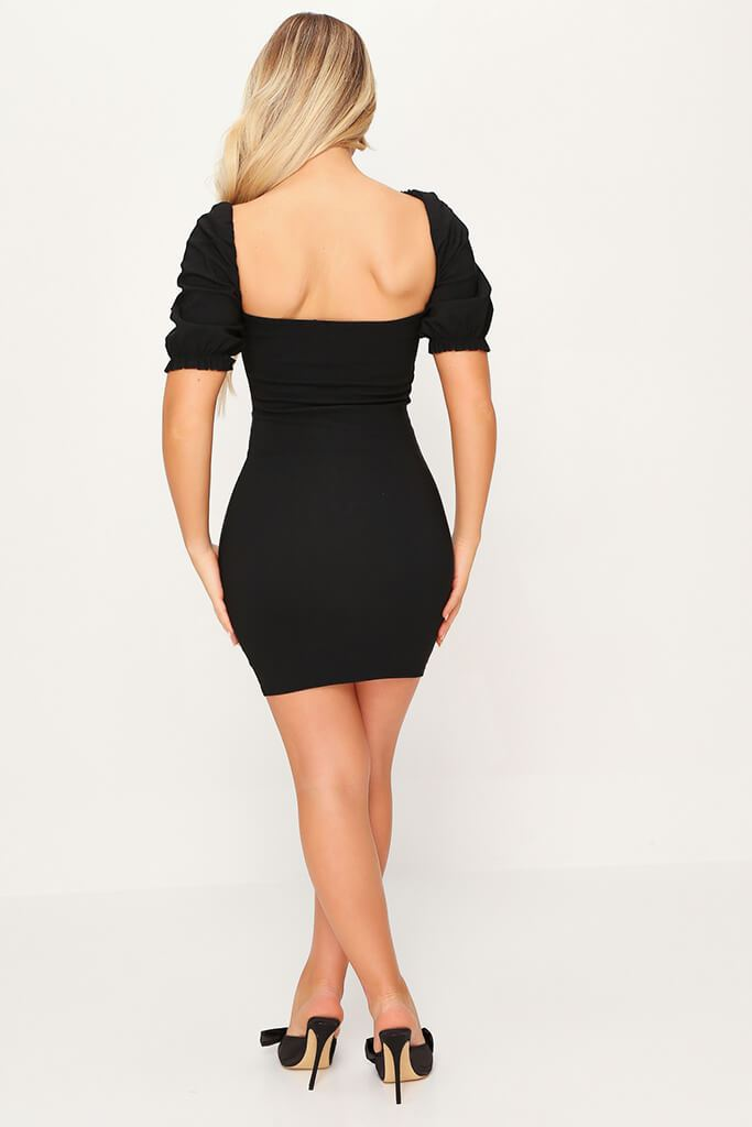 Black Bengaline Hook And Eye Lace Trim Puff Sleeve Bodycon Dress view 5