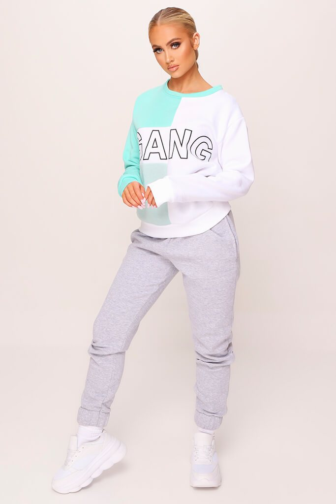 White Colour Block Gang Slogan Oversized Sweatshirt view 2