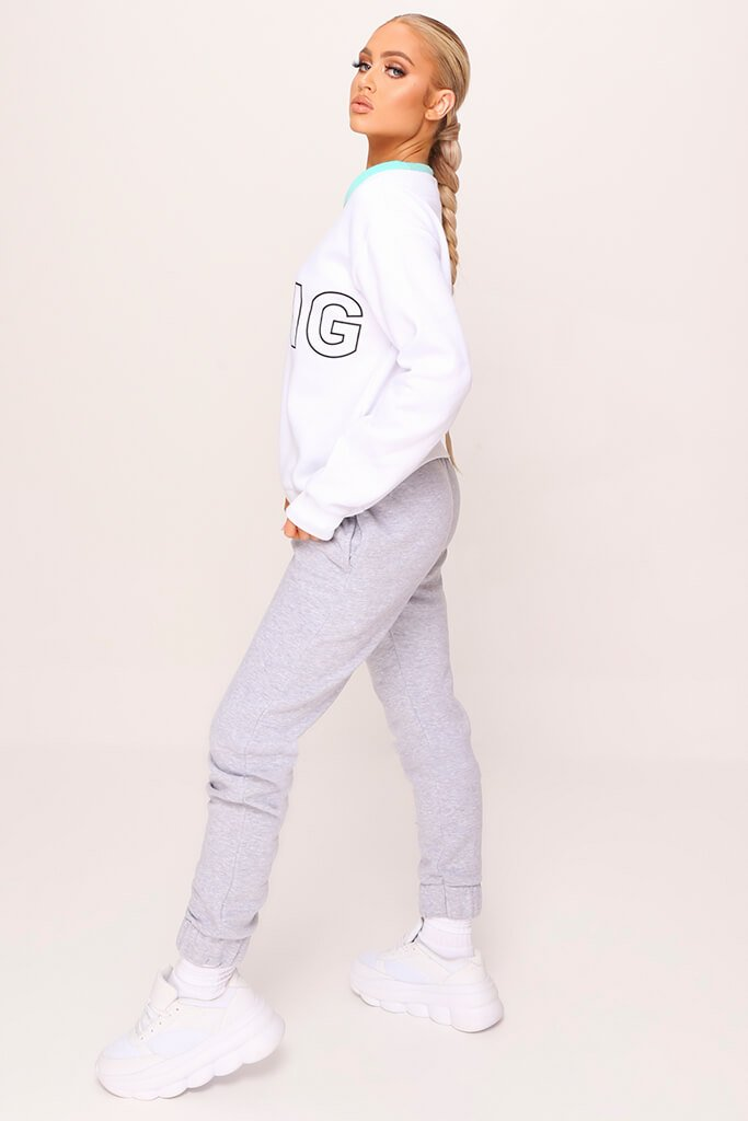 White Colour Block Gang Slogan Oversized Sweatshirt view 3