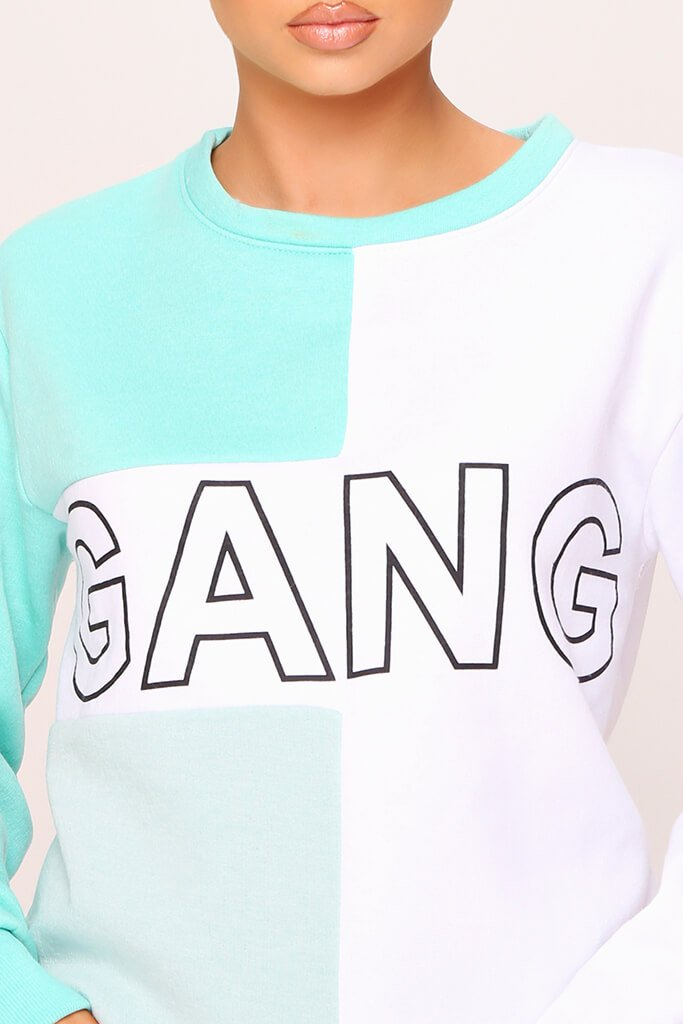 White Colour Block Gang Slogan Oversized Sweatshirt view 4