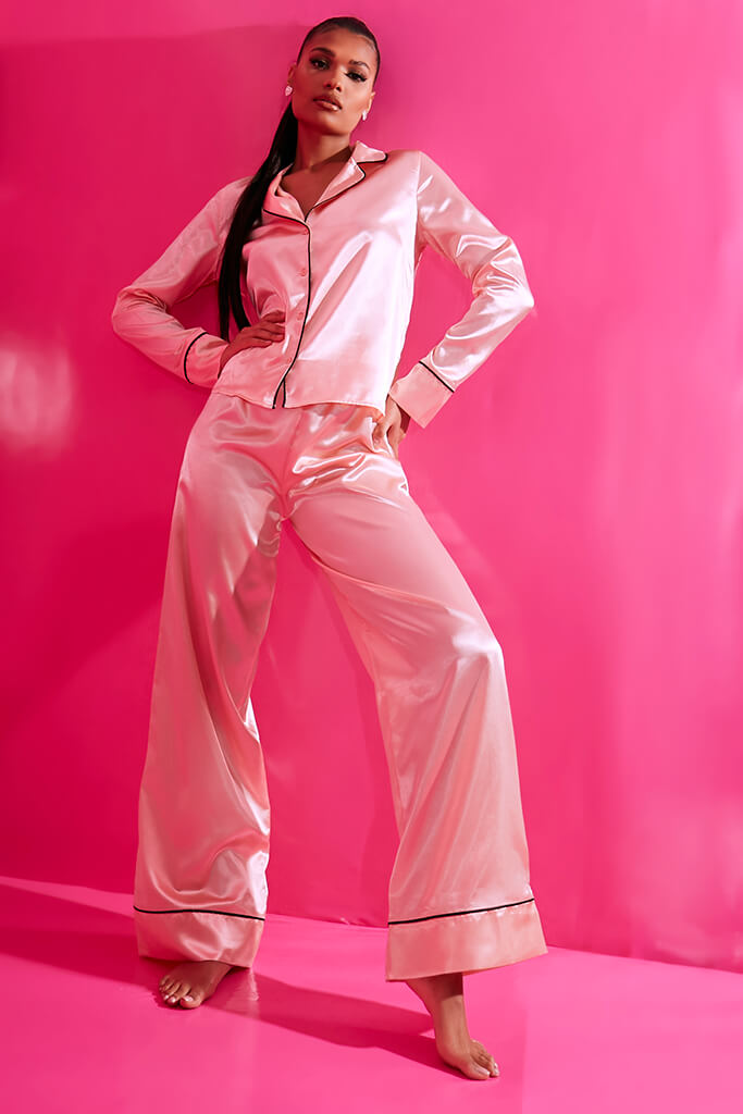Blush Pink Long Sleeve Piped Satin Pyjama Set