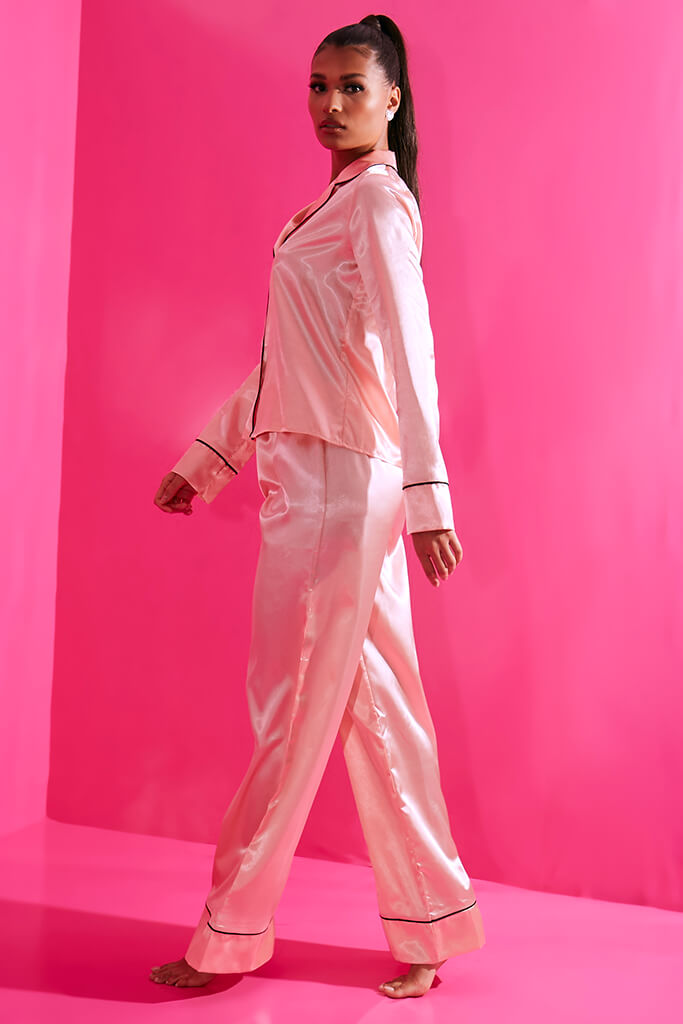 Blush Pink Long Sleeve Piped Satin Pyjama Set view 3